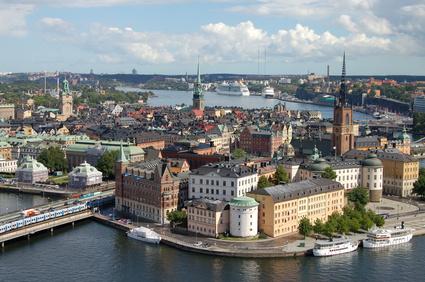 Die Stadt Stockholm aus der Vogelperspektive