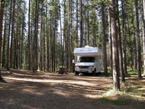 Wohnmobil im Wald